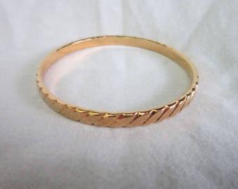 Vintage Designer Monet Gold Tone Bangle Bracelet Nice