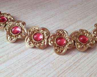 Beautiful Mid Century Gold Tone Floral Bracelet Adorned With Pink Lucite Cabochons ~ Antique / Victorian Style ~ For A Small Wrist