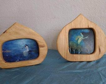 Wooden Frame postcard size / Wood Postcard holder  / Wood frame waldorf inspired home / MADE TO ORDER