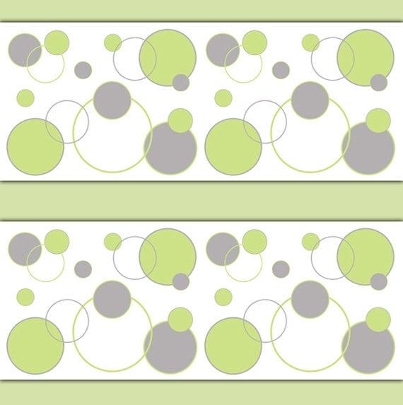 POLKA DOT WALLPAPER Border Wall Decals Green Gray Baby Boy Nursery Childrens Kids Room Geometric Abstract Art Circle Stickers Design Decor