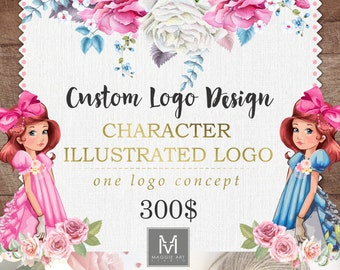 Custom Character Illustrated Logo Design -One Logo Concept , OOAK Logo Design, Exclusive Logo , Stamp Logo