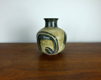 Vintage Stoneware Vase West German Style Pottery Retro 70's 60's Mid Century Modernist Glazed Modern Studio Art
