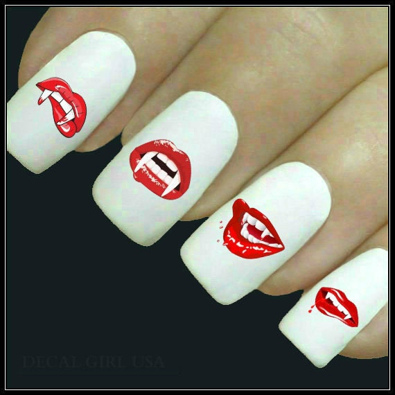 Halloween Nail Decal 20 Vampire Mouth Nails Water Slide Decals
