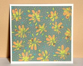 Modern original art: hand-painted bright flowers