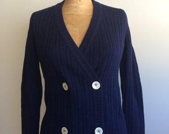 vintage double breasted cardigan navy blue ribbed Hirshleifers