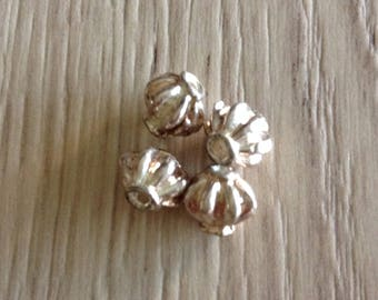 Bicone shape 4 x silver metal melon beads