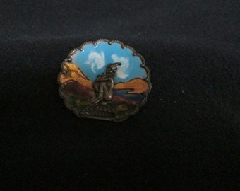 Vintage Enamel Sterling Broach