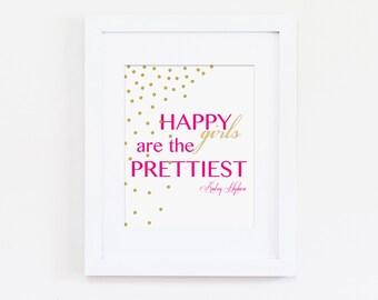 Happy Girls are the Prettiest Nursery Art Print, Audrey Hepburn Quote, Hot Pink Baby Girl Nursery, Girls Bedroom - Digital, Instant Download