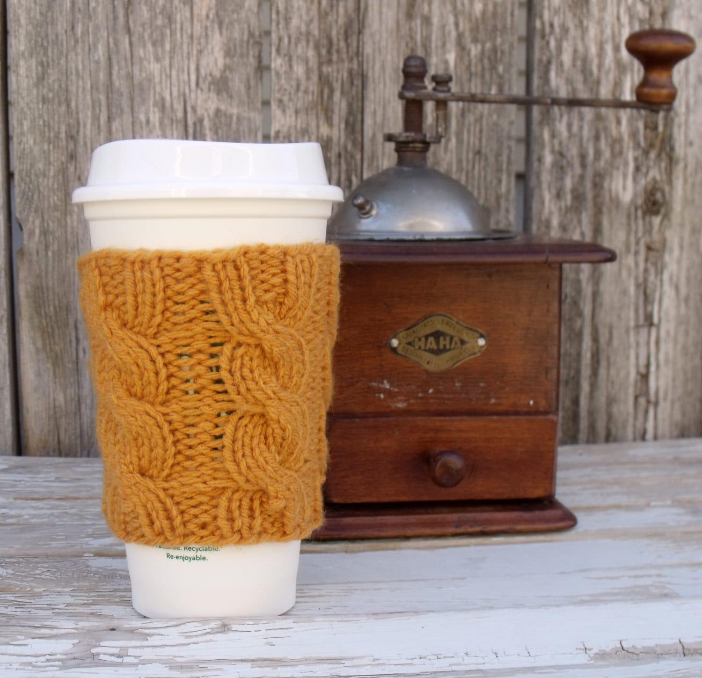 Coffee Cup Cozy, Coffee Mug Cozy - Cable Knit Coffee Cup Sleeve PDF ...