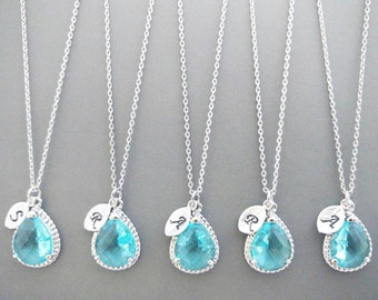 Set of 1-4, Personalized, Letter, Initial, Aquamarine, Sky blue, Glass, Silver, Necklace, Sets, Wedding, Bridesmaid, Bridal, Gift, Jewelry
