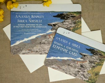 Rhode Island with Coastline Wedding Invitation with RSVP and Envelopes // Wedding Announcement // BP1