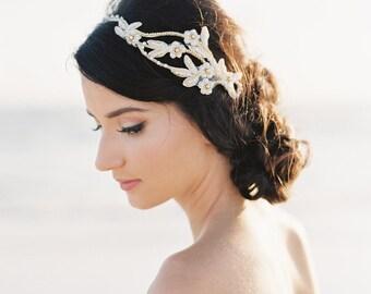 Bridal Hair Piece. Bridal Hair Vine. Gold Beaded Flower Crown {Olesya}