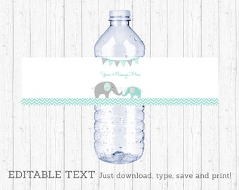 Elephant Water Bottle Labels / Elephant Baby Shower / Mint Green & Grey / Gender Neutral / INSTANT DOWNLOAD Editable PDF A101