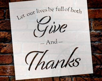 Full of Both - Give Thanks - Word Stencil - Select Size - STCL2100 - by StudioR12