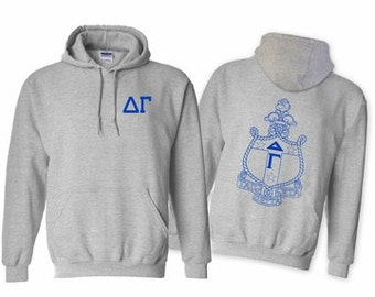 Delta Gamma World Famous Crest Hooded Sweatshirt - Royal Blue Print