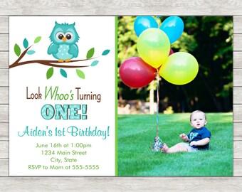 Owl 1st Birthday Invitation Boy, Owl Birthday Invitation - Digital File (Printing Services Available)