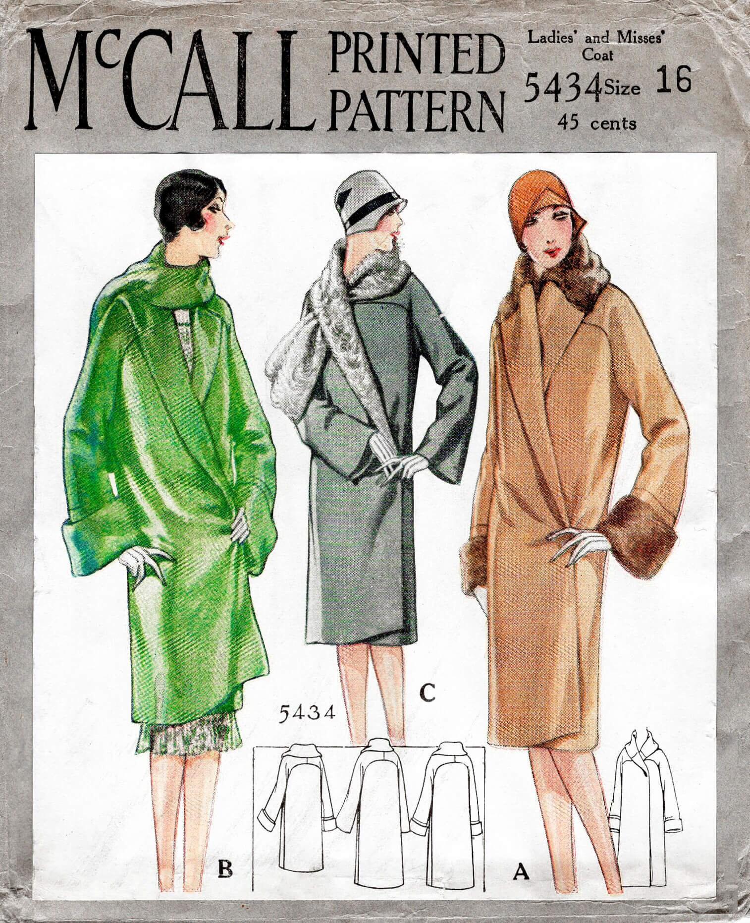 1920er Jahre 20er Jahre Wintermantel / / Jahrgang Nähen Muster