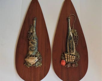 LARGE Mid-century wall hanging Set of 2 wood teardrop shape wine grapes 3D art