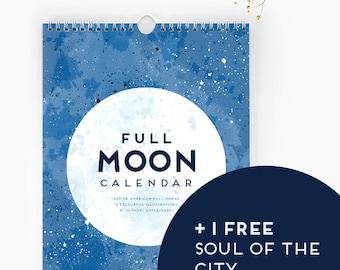 Full MOON Calendar  |  2018 Wall Calendar + free 2017 calendar | 16 Month Calendar