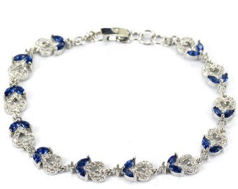 Sterling Silver Deep Blue Tanzanite emstone Bracelet With AAA CZ Accents