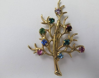Gold Plated Tree of Life Brooch