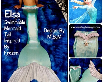 """Swimmable Mermaid Tail """"Elsa"""" (Inspired by Frozen)"""