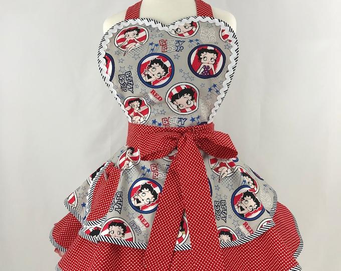 Rare Betty Boop Apron - Patriotic Print Apron- Pinup Retro Style Apron -Two Tiered Apron - Ladies Apron