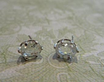 Zircon Earrings - White (Clear) Zircon Post Earrings - 7x5mm Zircon & Sterling Silver Post Earrings