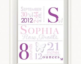 8 x 10 - Custom Birth Announcement Print - Butterfly Wall Art