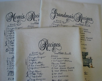 3 Handwritten Recipe Tea Towel Custom Recipe Flour Sack towels all same recipe