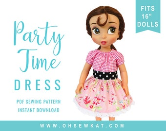 Animators Doll Clothes Sewing Pattern 16 inch Pattern Party Time Peasant Dress Easy to Sew doll clothes by OhSewKat fits 16 inch dolls