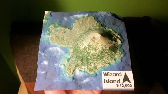 Wizard Island Crater Lake Oregon 3D Printed Relief Map 3D