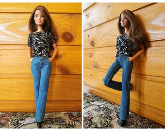 Barbie clothes, Barbie Jeans, Denim pants for the Barbie doll (M2M, Belly Button, regular Fashionista)