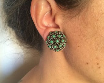 80s Clip earrings with green and black sparkling stones