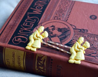 Vintage Dutch GIrl & Boy Dancing Bobby Pins, OOAK Hair Pins, Hair jewelry for Her, Yellow Dancing couple