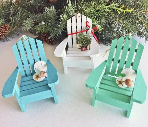 BEACH DECOR CHRISTMAS Ornaments Set/3 Mini Adirondack Chairs