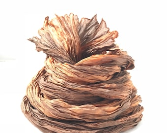 Hand Dyed Silk Scarf Orange Brown Long Fiber Art OOAK from Pleated Silks collection - Flame