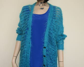 Teal Hairy Grunge Style Cardigan - One Size