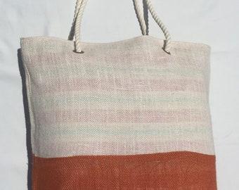 Burlap Tote Bag, Shoulder Bag, Beach Bag