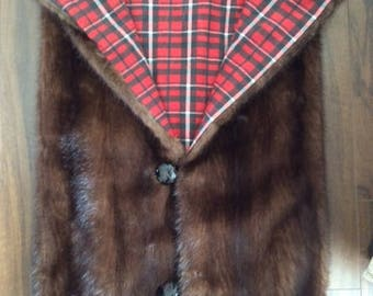 Recycled real fur winter blanket