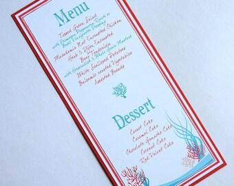 Tropical Coral Reef Beach Menu Destination Wedding / Special Event / Occasion