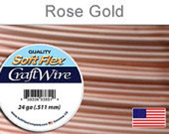 Silver Plated Wire, Soft Flex, 24 gauge, Rose Gold, 15 yds - 1 spool, Wire, Supplies