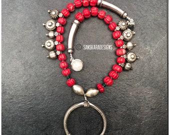 Sanskara Design Vintage Child Silver Anklet Repurposed Pendant Silver Necklace