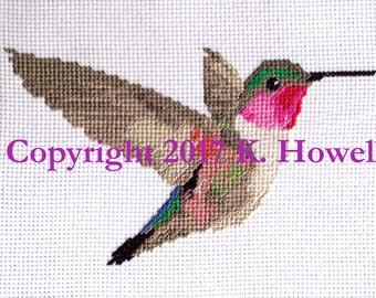 Hummingbird Cross Stitch Pattern, Bird, Pollinator, Flying, Flight, Cute, Detailed, Audubon, cross-stitch, diagram, pattern, PDF