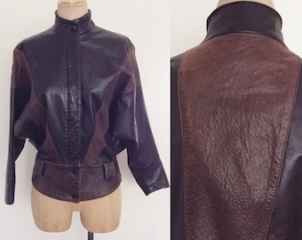 1980's Buttery Soft Leather Jacket w/ Batwing Sleeves Vintage Moto Jacket Size XS by Maeberry Vintage