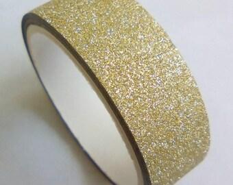 Washi tape 3 m Golden beige glitter