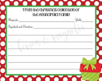 Christmas Present Personalized Recipe Card