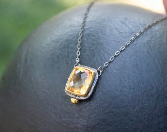 Sterling silver oxidized and gold plated natural citrine necklace