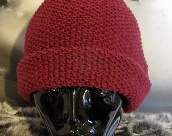 HALF PRICE SALE Digital pdf file - Roll Brim Moss Stitch Bobble Pom Pom Beanie hat knitting pattern