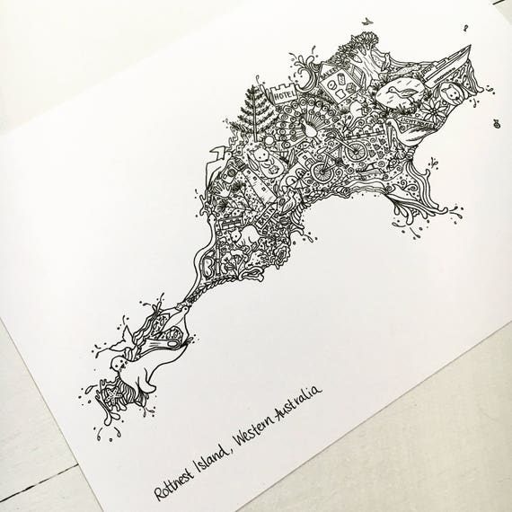 A4 A5 Rottnest Island Illustrated Map unique handdrawn